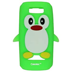 Casotec Penguin Silicone Jelly Back Case Cover for Nokia Asha 305 / 306 - Light Green