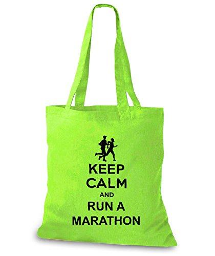 StyloBags Jutebeutel / Tasche Keep Calm and run a Marathon Lime