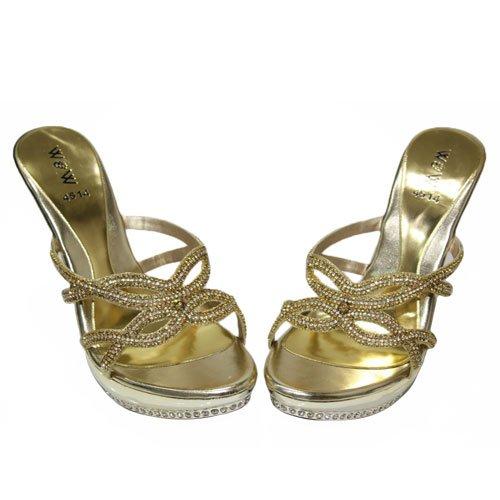B W & Evening Heels Damen Party-Sandalen, Bridal Shoes Size (Schwarz, Silber, Gold SEEB) Gold