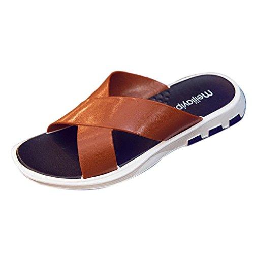 Sandales Hommes Ete Ansenesna Hommes Plate-Forme de La Mode des Femmes Tongs Sandales CompenséEs Pantoufles de Plage