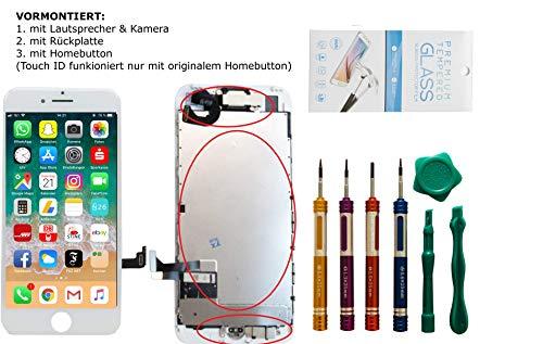 GIKEB Erdsatzdisplay für iPhone 7 VORMONTIERT | mit Kamera, Näherungssensor, HomeButton, Lautsprecher, Werkzeug und Folie | Komplettset | Deutscher Händler (iPhone 7, weiß)