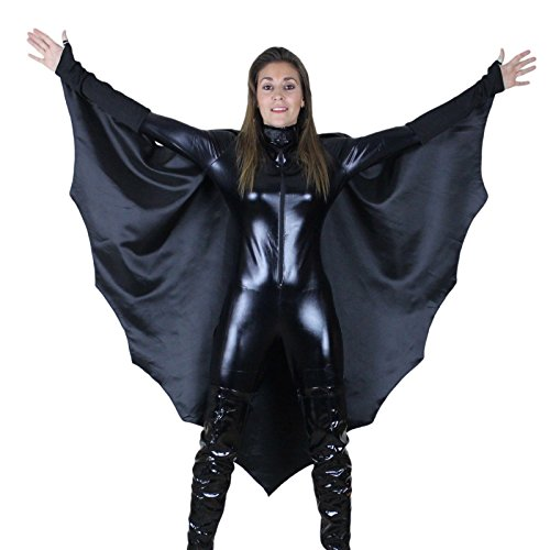 Damen Sexy Black Catsuit & Cape Catwoman Superheld Kostüm (Superhelden Frauen)