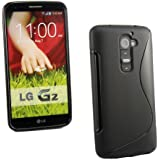 Kit Me Out UK TPU Gel Case for LG G2 D802 - Black S Line Wave Pattern