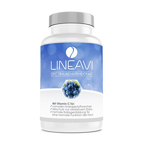 LINEAVI OPC Traubenkernextrakt | hochdosiert mit natürlichem Vitamin C | Trauben aus ausgewählten Anbaugebieten | in Deutschland hergestellt | ohne Gelatine | 90 vegane Kapseln (2-Monatsvorrat)