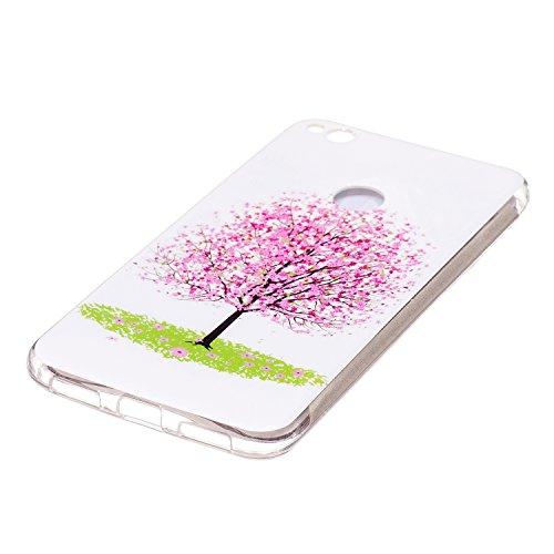 ISAKEN Custodia Cover per Huawei P8 Lite 2017 - Fashion Agganciabile Luminosa Custodia con LED Lampeggiante PU Pelle Portafoglio Tinta Unita Cover Caso per Huawei P8 Lite 2017, Luxury Protettivo Skin  albero rosa
