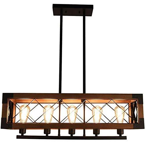 YHY Modern Dachgeschoss Deckenleuchten Industrie Holz Kronleuchter Antiquität Retro Jahrgang Decke Hänge Pendelleuchten für Dining Hall Bedroom Hotel Lighting, 5 Light
