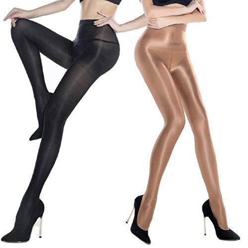 Kostüm Für Tanz Fett - ANDIBEIQI 2 Pairs Dance Strümpfe Frauen Shaping Socken Öl Socken Shiny Silk Strumpfhosen Tanzstrumpfhosen 70den
