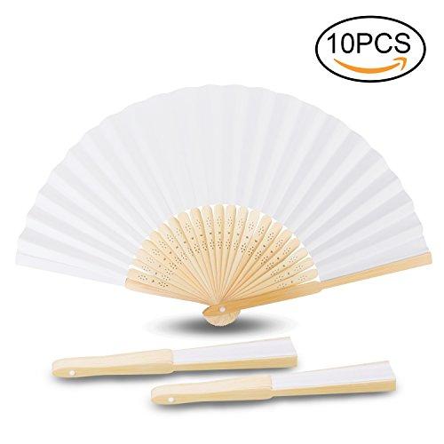 Handfächer, Samione Weisse Chinesische Leeres Papier Fans DIY Papierhand Folding Fan Hochzeit Faltfächer Kirche Kinder Geschenk(10er) (Dekor Papier-fan)