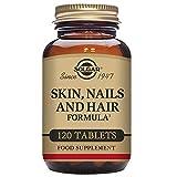 Solgar Pelo, Piel y Uñas, 120 Comprimidos - Mantenimiento de pelo, piel y uñas con brillo. Contiene vitamina C para la formación de colágeno. Apto para veganos