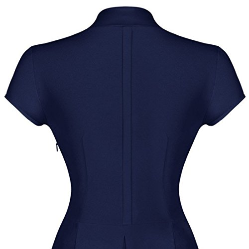 Sitengle Donna Eleganti Vestiti Retrò Anni '50 a V Vintage Fasciante A Line Fasciante Abiti Da Sera Rockabilly Vestito Grande Swing Blu