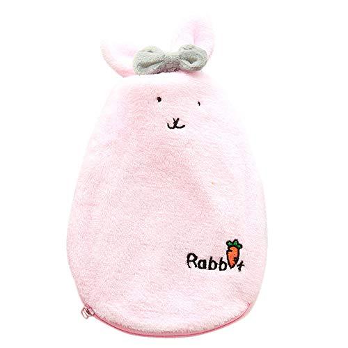 tianranrt dibujos animados de peluche Conejo patrón Agua Caliente Botella de regalo–Calentador de manos para niña, Rosa