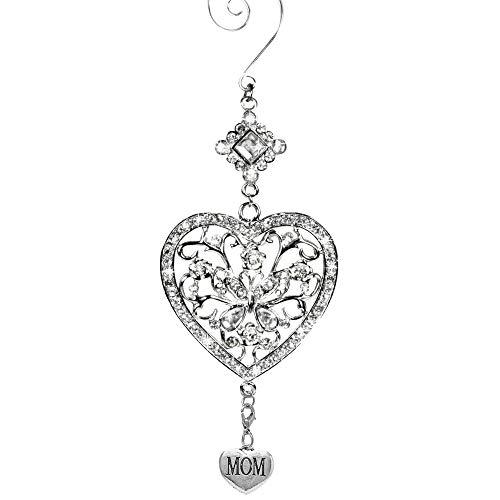 Banberry Designs Hängeornament, Herz und Schmetterling, klare Kristalle und filigranes Ornament, glitzernd, silberfarben -