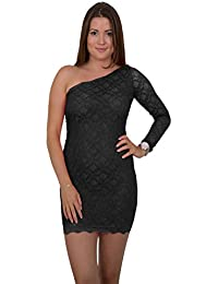 Sexy Designer One Shoulder Minikleid Asymmetrisches Abend-Kleid Dress mit Spitze in verschiedenen Farben