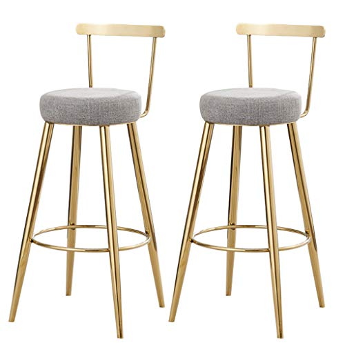 Barhocker Gepolsterte Fußstütze mit Rückenlehne, Grauer Schwammsitz, Esszimmerstühle für Küche Restaurant Pub, Kaffee Bar Barhocker, Beine aus Gold, Max. Laden Sie 200 kg
