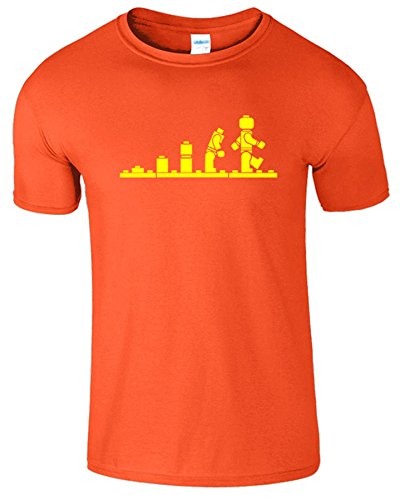 Evolution Legolution Herren Lustige Kurzarm Fancy T-Shirt Orange