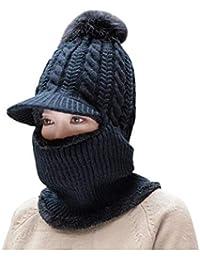 CJC Sombrero Bufanda Conjunto Cuello Más Cálido Cómodamente Mujer Muchachos Gorrita  Tejida Suave Elástico Tejer Gorra 22e8250135c