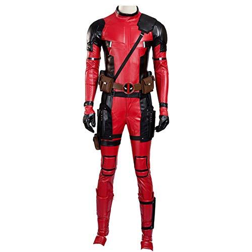 Karneval Brasilianischer Kostüm Kinder - QWEASZER Marvel X-Men Deadpool Wade Wilson 1: 1 Kostüm Superheld Rot und Schwarz Leder Overalls Cosplay Kostüm Erwachsene Halloween Karneval - Anpassbare Größe,Red-XL