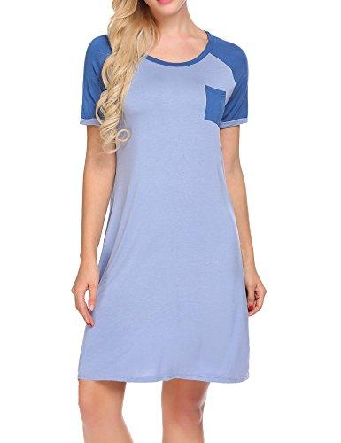 Damen Bequeme Hemd Kurzarm Modal Schlaf Kleid Nachtwäsche Nachthemd Nachtkleid*