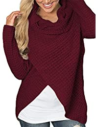 4ba16208e4670 YOINS Women Roll Neck Jumpers Crossed Front Button Long Sleeve Plain Sweater  Pullover Tops Blouse Shirt
