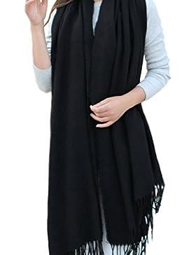 Minetom Mujer Invierno Moda De Gran Tamaño Bufandas Flecos Chales Sólido Color Imitado Cachemira Estolas