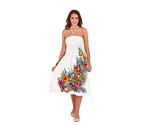Pistachio Damen 3 In 1 Blumen-bandeau Midi Kleid Weiße Blume