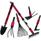 MK Set d'outils de jardin multifonctions avec 1 manche court, 1 manche télescopique et de nombreuses têtes d'outils