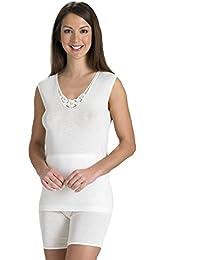 Slenderella lana y seda sin mangas camiseta de tirantes – crema o ...