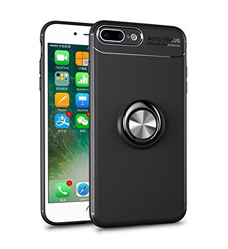 iPhone 8 Plus Hülle , iPhone 7 Plus Handyhülle mit Ring Kickstand - Mosoris Premium Silikon Shell mit 360 Grad Drehbarer Ständer und Handyhalterung Auto Magnet Ring , Stoßfest Rüstung Schutzhülle Bumper Tasche Case Cover für iPhone 7 Plus / 8 Plus,Schwarz + Schwarz