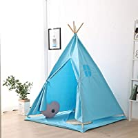 Bespivet Teepee Tent for Kids, Play Floor Mat, 120 x 120 Play Mat Children Teepee Blue with Carry Bag, Floor Mat, Portable and Collapsible in Blue