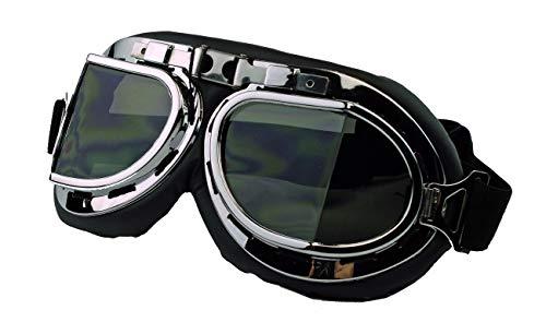 Vintage Style Oldtimer Brille Motorradbrille Cabrio Pilot Flugzeug Kradmelder WWII (Silber/Grau getönt) (Modell Wwii Flugzeuge)