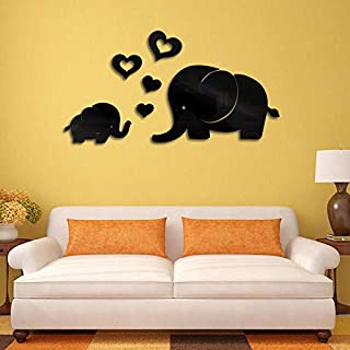 Cwemimifa Wohnkultur Artwork,Elefant Wanddekor Spiegel Aufkleber DIY Aufkleber abnehmbare Art Baby Kinderzimmer Wandbild,Schwarz,15 x 25 cm