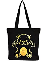 Vivinkaa Black Teddy Printed Tote Bag With Zip For Women