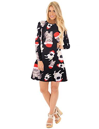 ihnachten Kleid - niedliche Katzen und Hunde drucken S schwarz (Hässliche Pullover Kleid)
