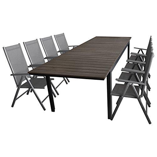 Multistore 2002 9tlg. Gartenmöbel Set Gartengarnitur Aluminium Polywood Ausziehtisch Gartentisch 280/220x95cm + 8X Hochlehner 2x2 Textilenbespannung - Sitzgarnitur Sitzgruppe