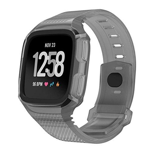 squarex Rugged Schutzhülle mit Silikon Handschlaufe Bands für Fitbit Versa Armbanduhr, damen, Gray+Black, AS - Iphone Kratzer-entferner Für