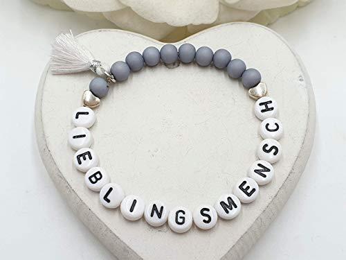 Armband Lieblingsmensch grau, Geschenk Soulmate, Acryl oder Edelsteine