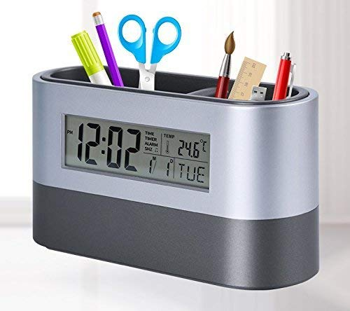 AE Plastic Digital Snooze Alarm Shelf Clock with Pen Holder, with Big LED Backlight Electronic Calendar Snooze Alarm Clock,Two Holes Brush Pot,Office & Home Desktop Stationery Container
