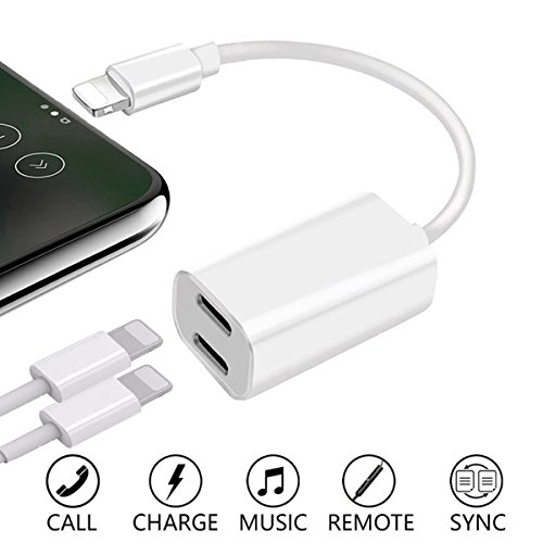 2 in 1 Lightning Adapter Splitter für iPhone 7/7 Plus/8/8Plus/X,WERTIOO Dual Lightning Adapter Unterstützung Music Control ,aufladen und anrufen,(Kompatibel mit iOS 11) (Dual-männlich 1 4)