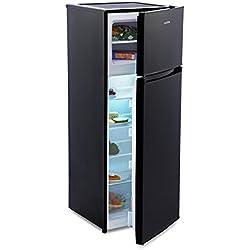 Klarstein Height Cool Black - combiné, 171 l, congélateur 41 l, 4 Grandes clayettes, compart. légumes, 4 compart. de Porte, réfrigérateur 7 Positions de température, Porte modifiable, Noir