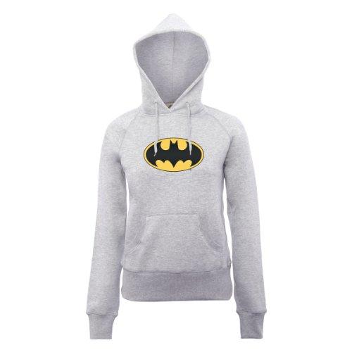 DC Universe Damen Kapuzenpullover Dc Comics Official Batman Logo Womens Hooded Sweatshirt Grau - Erika-Grau