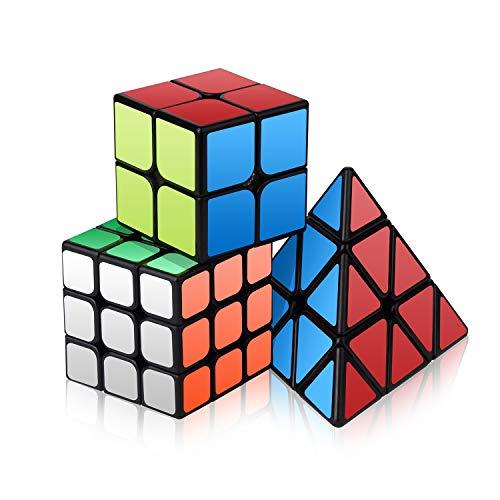 Vdealen Speed Cube Set, Ensemble de Cubes Magiques Roxenda Magic Cube de 2x2x2, 3x3x3 Pyramides Lisses