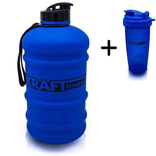 Kraft & Fitness Premium Gallone Trinkflasche matt blau 2,2L - Water Jug Schnellverschluss - spülmaschinenfester Fitnessshaker - BPA-frei - Sportflasche Fitnessbundle für Gym, Alltag & Arbeit -