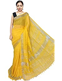 Red Saree Women's Linen Saree With UnBlouse Piece (Sanghamitra338_Yellow)