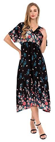 Wantdo Femme Robe Maxi Col en V Style Boho Manches Courtes Dos Nu Robe Longue Décontractée été Robe de Plage Imprimé Florale Bohême Chic Noir Petite Fleur Small