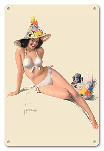 Pacifica Island Art 22cm x 30cm Vintage Metallschild - Sie ist Klasse! - Berühmtes Pin-up-Modell Jewel Flowers - Vintage Retro Pin Up Kalender Seite von Rolf Armstrong c.1961 (Vintage Pin-up-kalender)