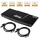 TESmart 4x1 Interruttore KVM HDMI 4K 3840x2160@60Hz 4:4:4 con 2 Cavi KVM 5ft/1.5m Supporta dispositivi USB 2.0 Dispositivi USB 2.0 Controlla Fino a 4 Computer/Servers/DVR (Nero)