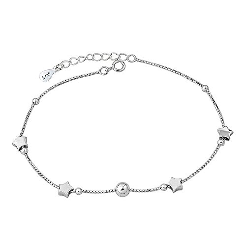 Isajewelry Sterling Silver Star Ankle Chain Bracelets Adjustable Love Anklet Jewellery For Women
