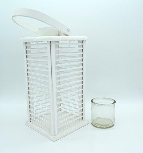 E Trade Lanterna a LED in Vimini e Rattan, Colore Bianco - 4