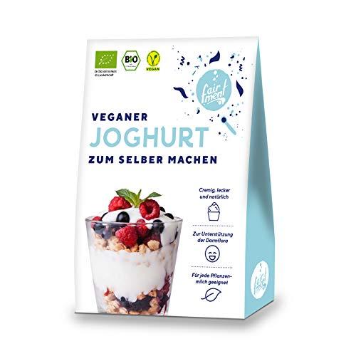 Fairment Bio Joghurtkultur zur Herstellung von veganem Joghurt - Joghurt selber machen - enthält 3 Beutel Joghurtferment für die Herstellung von bis zu 30 Liter Kokosjoghurt, Sojajoghurt usw.