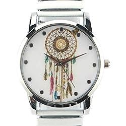 Michael John Damen-Armbanduhr Stahl und weiß Ethnic Pampa